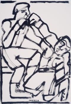 Last Round, America Martin, black & white figurative drawing on cotton paper