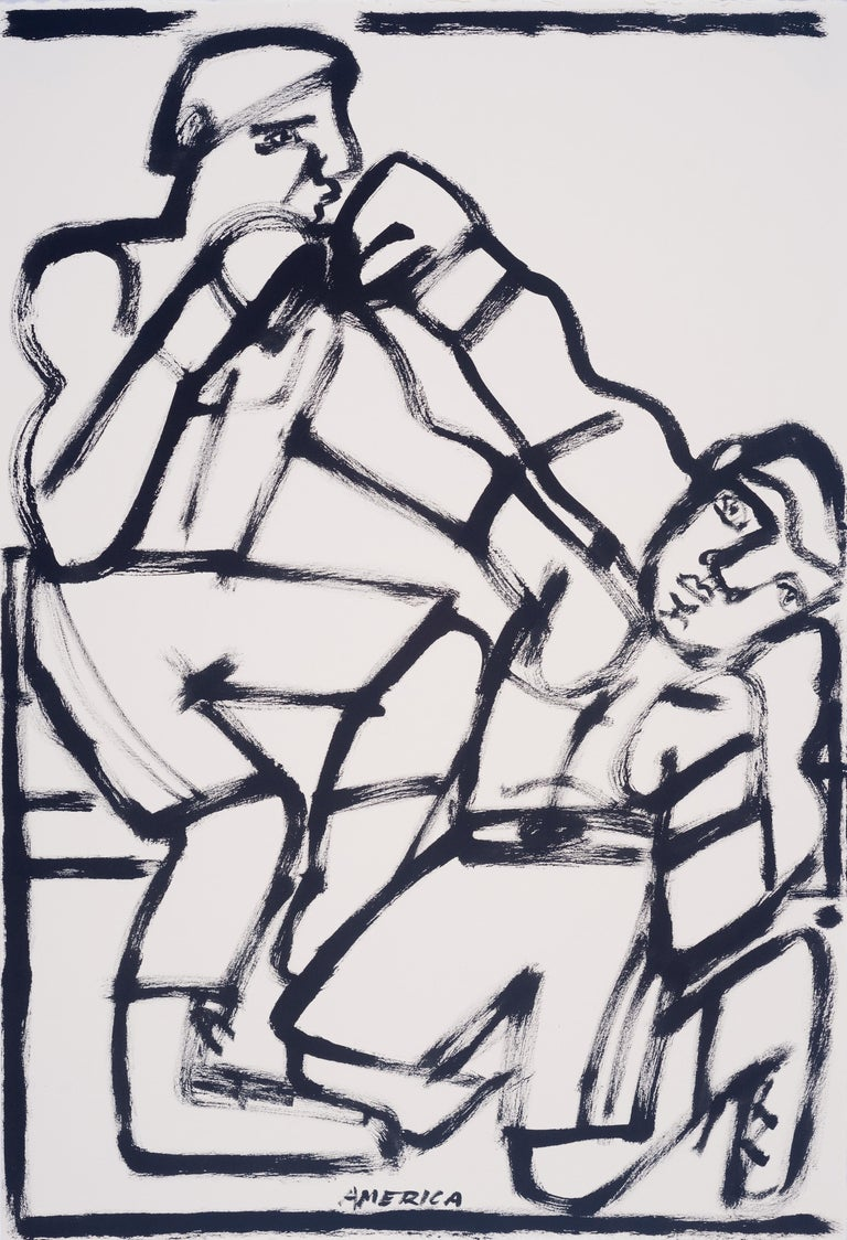 Last Round, America Martin, black & white figurative drawing on cotton paper - Art by America Martin