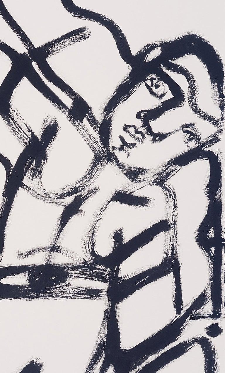 Last Round, America Martin, black & white figurative drawing on cotton paper - Gray Figurative Art by America Martin