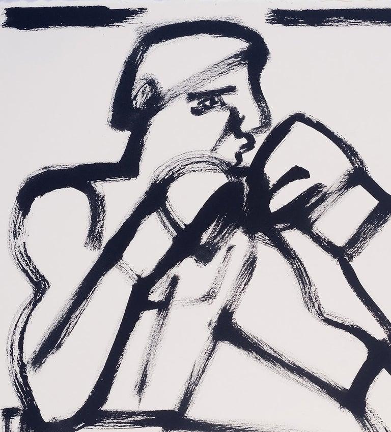 Last Round, America Martin, black & white figurative drawing on cotton paper - Contemporary Art by America Martin