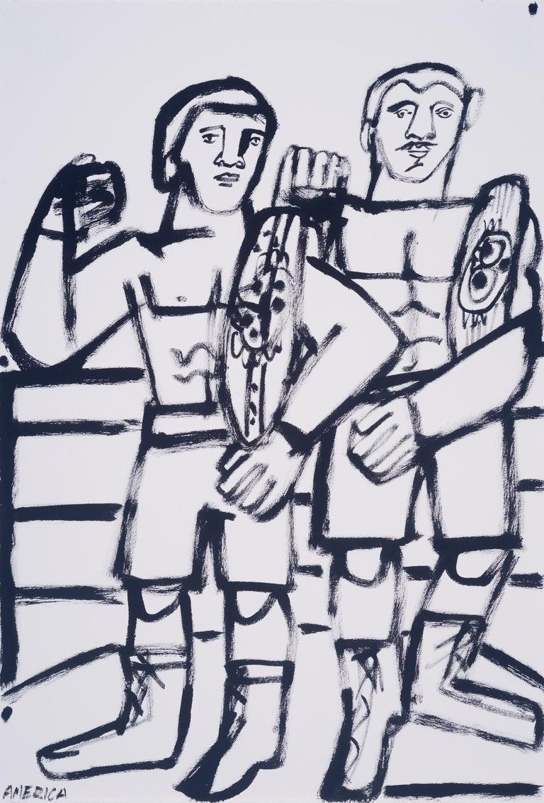 Two Champs, America Martin, black & white figurative drawing on cotton paper - Art by America Martin