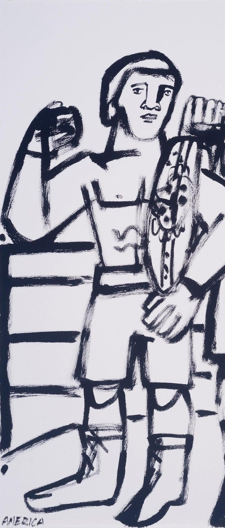 Two Champs, America Martin, black & white figurative drawing on cotton paper - Gray Figurative Art by America Martin