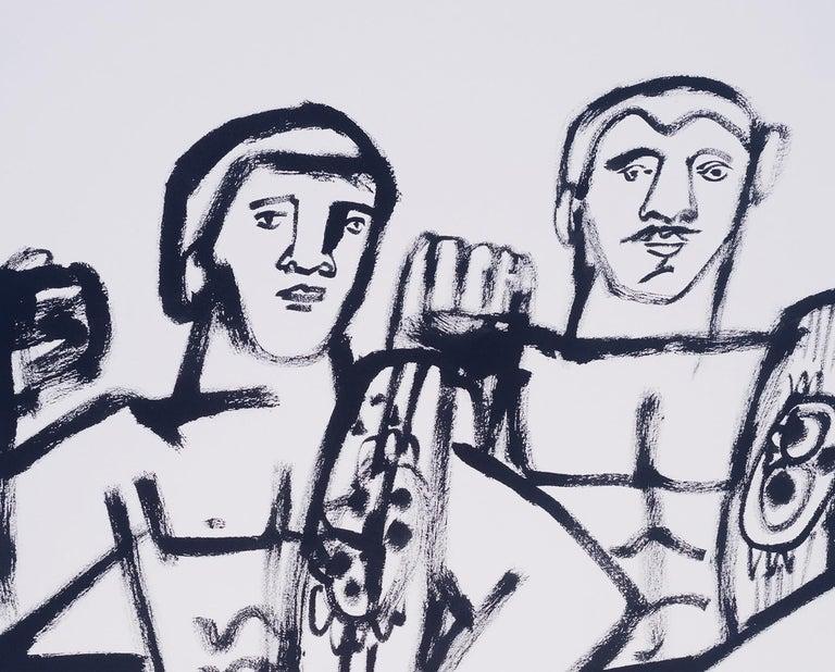 Two Champs, America Martin, black & white figurative drawing on cotton paper - Contemporary Art by America Martin
