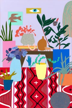 Navajo Weaving & Bird, Mary Finlayson, Gouache + Flashe on Canvas-Room Interior