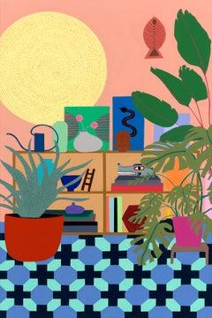 Geometric Rug, Black Snake, & Wolf, Mary Finlayson, Gouache + Flashe on Canvas