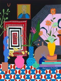Floral Arrangement with Portrait, Mary Finlayson, Gouache + Flashe on Canvas