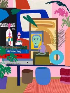 Pink Room w/ Baldessari & Girard Figures, Mary Finlayson, Gouache+Flashe, Canvas
