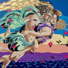 Michael Callas, Birth of Venus II in Orange, Spray Paint, Pop Art-Figurative