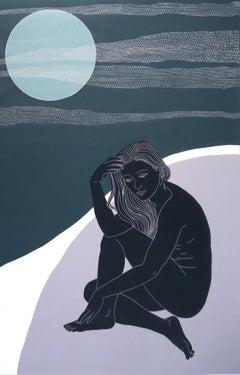 High Up in the Moonlight Ed 2/6, Ellen Von Wiegand (Figurative Linocut) Unframed