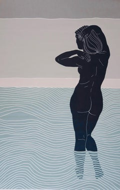 Salty Skin & Dusky Sky Ed. 2/6, Ellen Von Wiegand (Figurative Linocut) Unframed