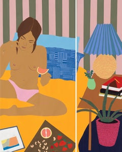 Grapefruit in Bed Diptych, Mary Finlayson, Gouache + Flashe on Canvas-Figurative