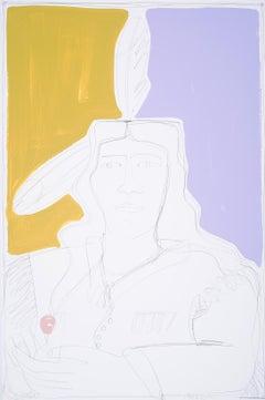 2 Feathers in Violet & Beige, America Martin-Native American Portrait-Figurative