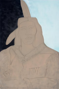 Two Feathers II-America Martin, Oil&Acrylic Native American Portrait, Figurative