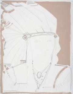White Headdress, America Martin, Native American Portrait, Figurative (unframed)