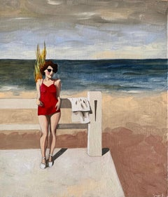 Gisèle_Swan Scalabre_2020, Oil on Wood/Wooden Frame_Female Figurative, Beach