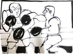 Boxer I, 2021, America Martin, Ink on Paper, Black + White/ Figurative, Boxer