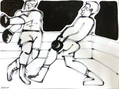 Boxer II, 2021, America Martin, Ink on Paper, Black + White/ Figurative, Boxer