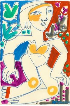 Woman Seated II_America Martin_Pastel/Ink/Paper_Figurative/Nude/Portrait