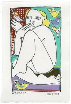 Tea Birds IV_America Martin_Pencil/Japanese Ink/Paper_Figurative/Nude/Portrait