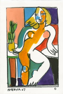 Lady O_America Martin_Pencil/Japanese Ink/Paper_Figurative/Nude/Portrait