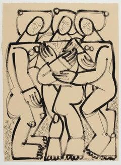 The Three Graces_America Martin_Ink/Cotton Paper_Figurative/Nude/Portrait