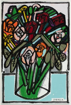 Roses_2018_America Martin_Acrylic/Pencil/Paper_Floral/Still Life