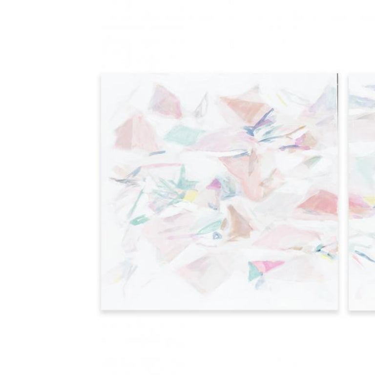 FALLING IV (DIPTYCH) - Gray Abstract Painting by Taelor Fisher
