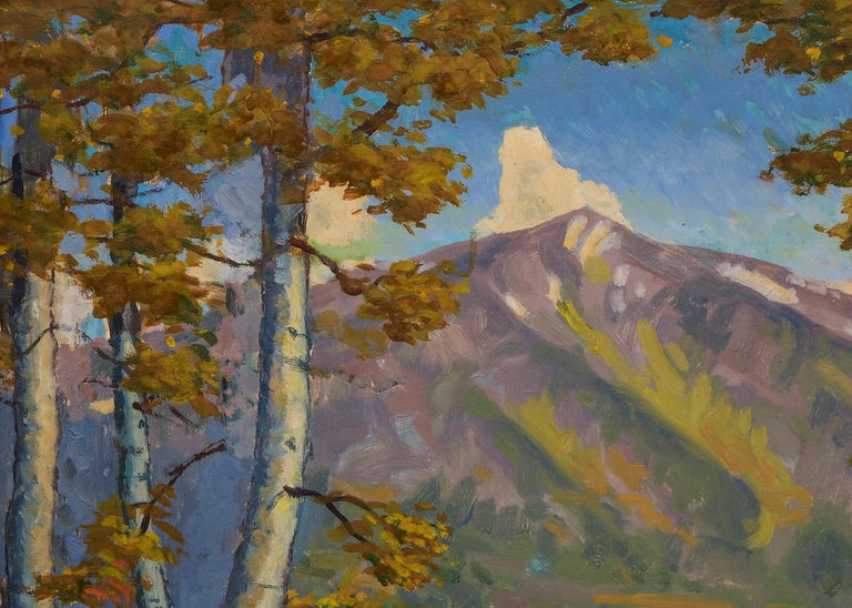 Original vintage landscape oil painting of Mount Sopris near Aspen and Carbondale in the Rocky Mountains of Colorado by Harold Skene (1883-1978).  A pond is shown with autumn trees in hues of yellow, gold, green and red with a pond and Mt. Sopris