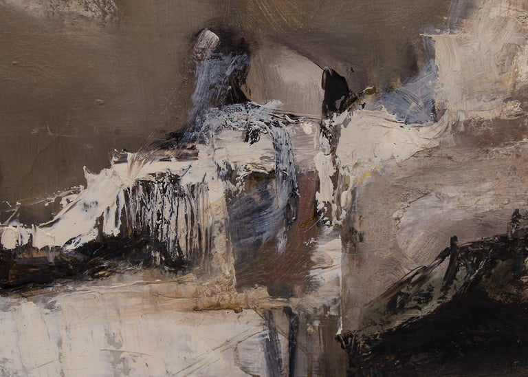 Winter Landscape (Mid-Century Modern Abstract Painting) For Sale 4