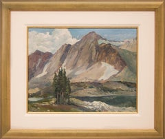 Untitled (Vintage 1947 Mountain Landscape Painting, Lake, Trees, Snow & Peaks)