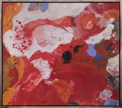 Joie de Vivre (Large 1950s Abstract Painting in Red, White, Orange, Blue, Black)