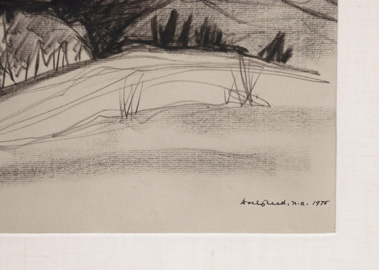 Original vintage 1975 framed charcoal and pastel drawing of a New Mexico landscape with hills, trees and snow-capped mountains in black and white by Doel Reed (1894-1985). Presented in a custom frame, outer dimensions measure 24 ¾ x 29 ½ x 1 ¼