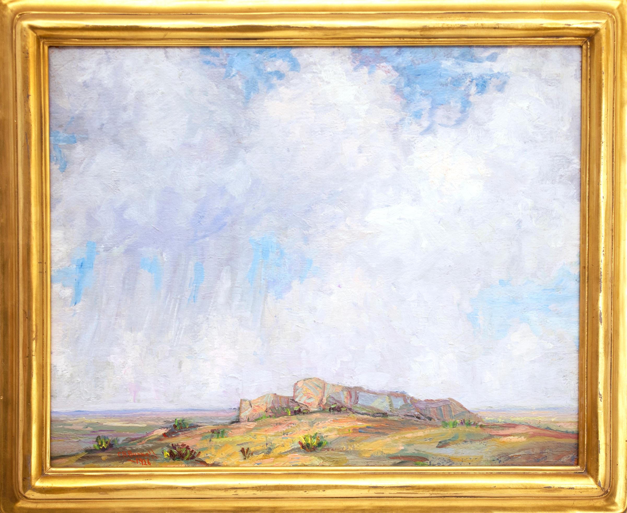 Untitled (Colorado Landscape with Buttes, Prairie and Big Blue Sky with Clouds)