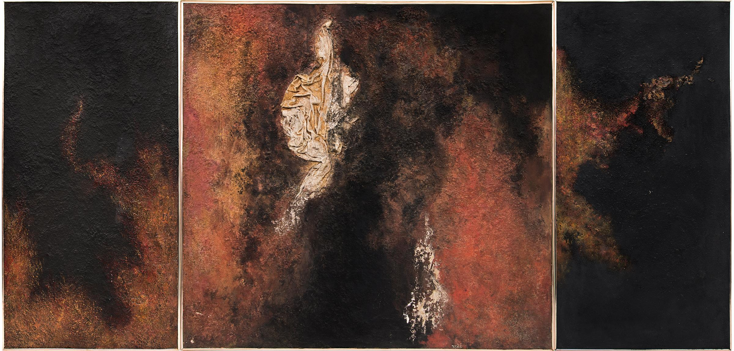 Continuum (Triptych 3 Large Abstract Expressionist Paintings: Red, Black, Gold)