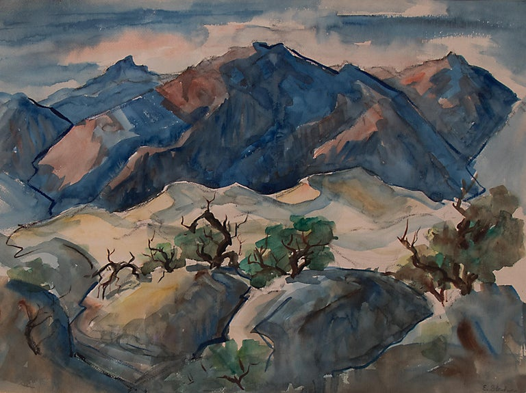 Elmer Stanhope Landscape Painting - Untitled  (Western Mountain Landscape, California)