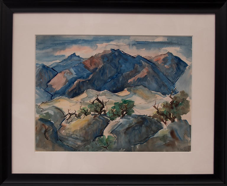 Untitled  (Western Mountain Landscape, California) - Painting by Elmer Stanhope