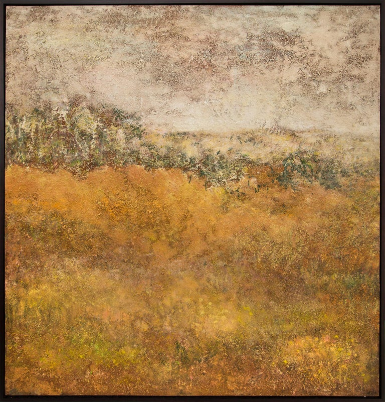 "Original mid-century modern era oil painting by Denver woman artist, Ruth Todd (1909-2006), ""Autumnal Haze"" is an abstracted, somewhat impressionistic landscape painting in hues of gold, yellow, green, red brown and white.   Oil and wood (sawdust)"