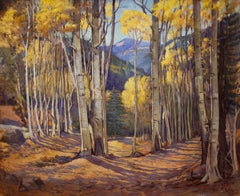 At Twining Taos Mountains (New Mexico Aspens in Autumn Landscape)