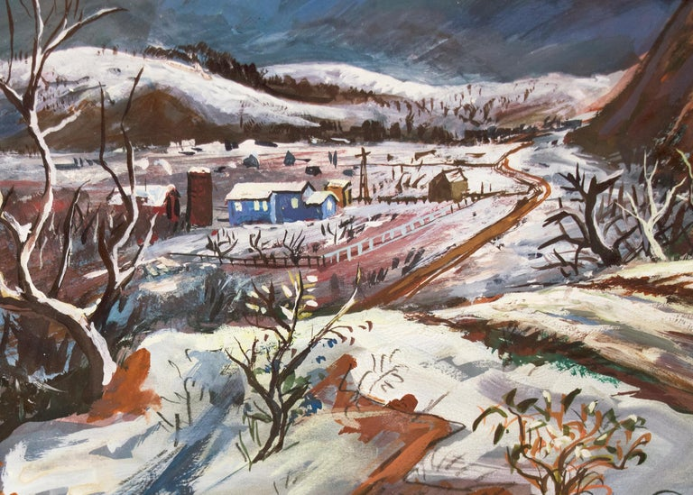 Silent Night is an original painting by Frederick Shane (1906-1992) a modernist WPA era Colorado winter landscape with a moonlight over church, snow and hills. Frederick Shane studied and later instructed at the Kansas City Art Institute and the