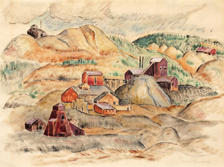 Untitled (WPA Era Colorado Landscape with Mine) - Painting by Louise Ronnebeck