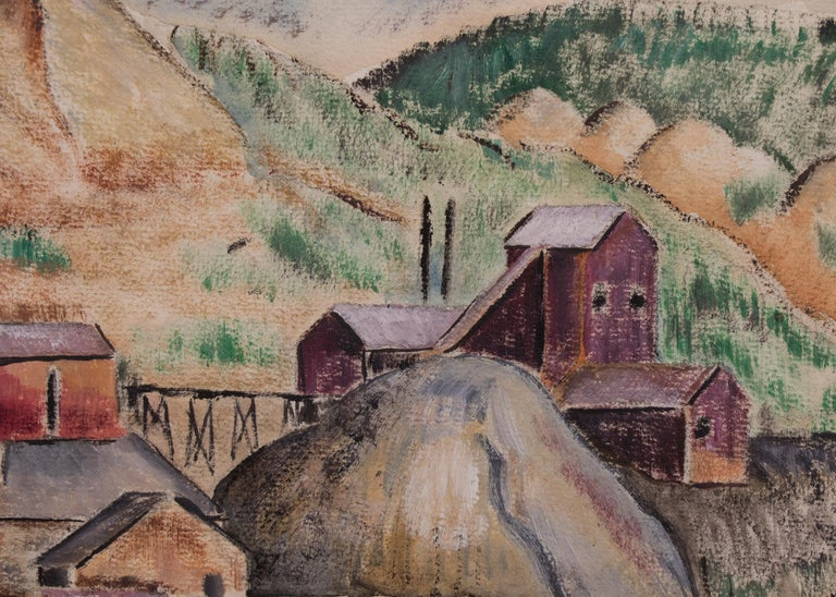 Untitled (WPA Era Colorado Landscape with Mine) - Beige Landscape Painting by Louise Ronnebeck