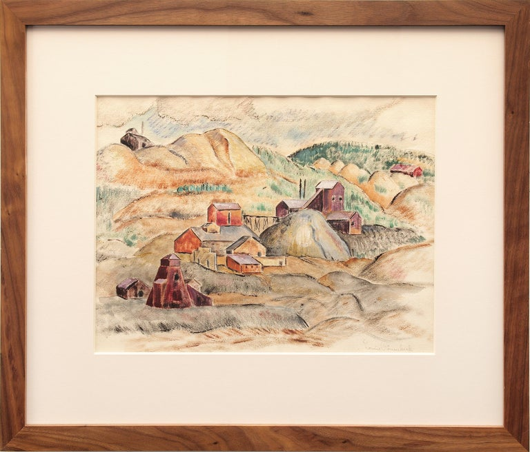Louise Ronnebeck Landscape Painting - Untitled (WPA Era Colorado Landscape with Mine)