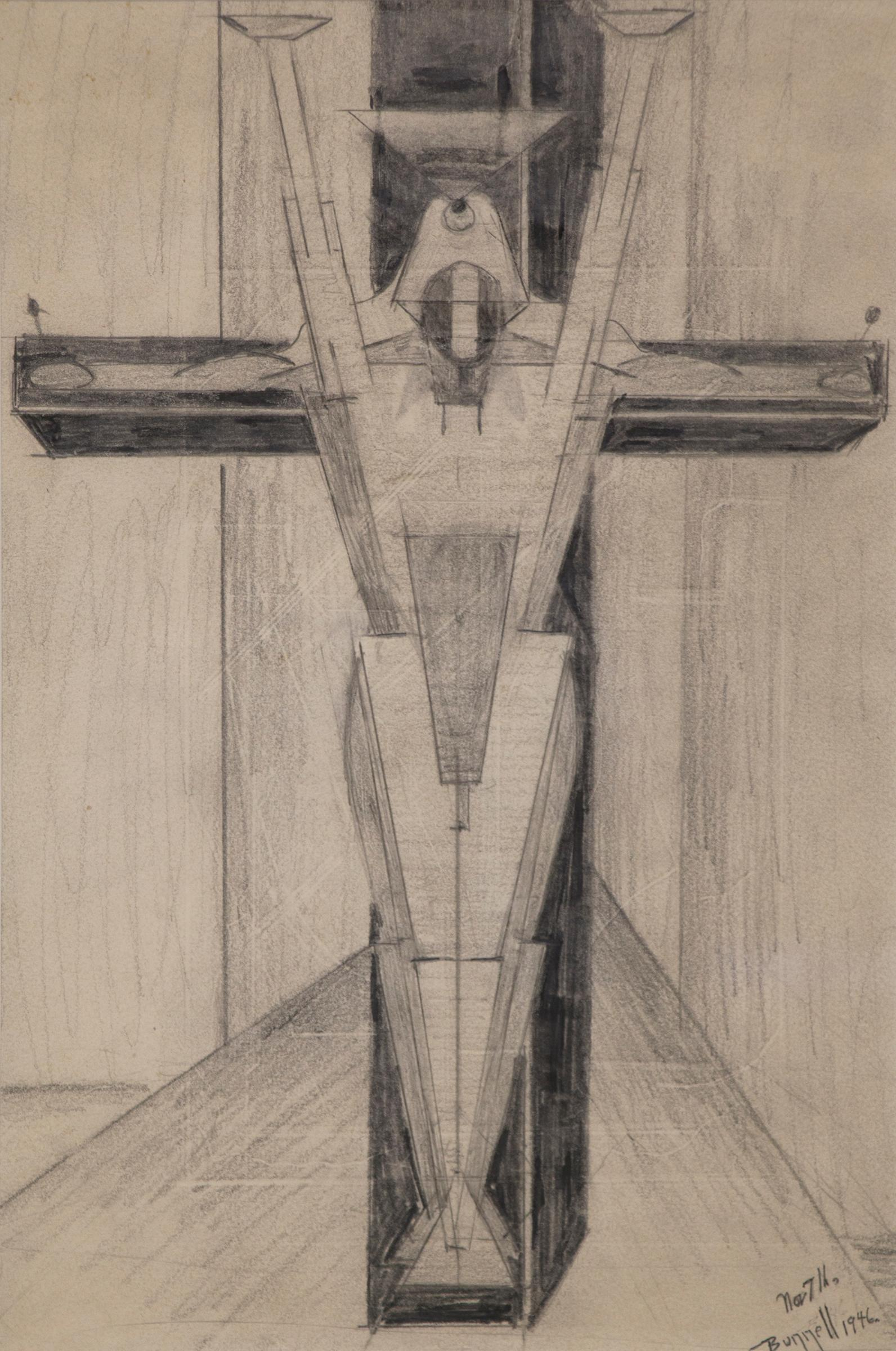 Untitled Figure on a Cross (Futurism/Cubism, Black & White Drawing)
