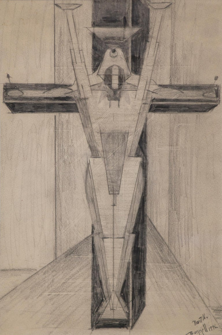Untitled Figure on a Cross (Futurism/Cubism) - Art by Charles Ragland Bunnell