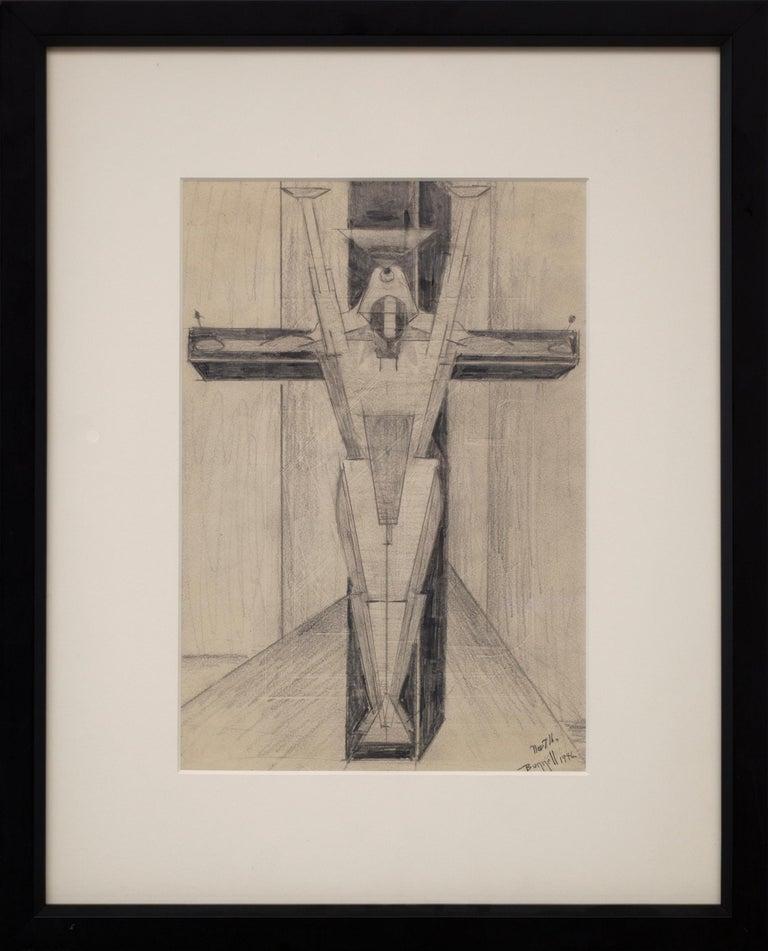 Untitled Figure on a Cross (Futurism/Cubism) - Futurist Art by Charles Ragland Bunnell