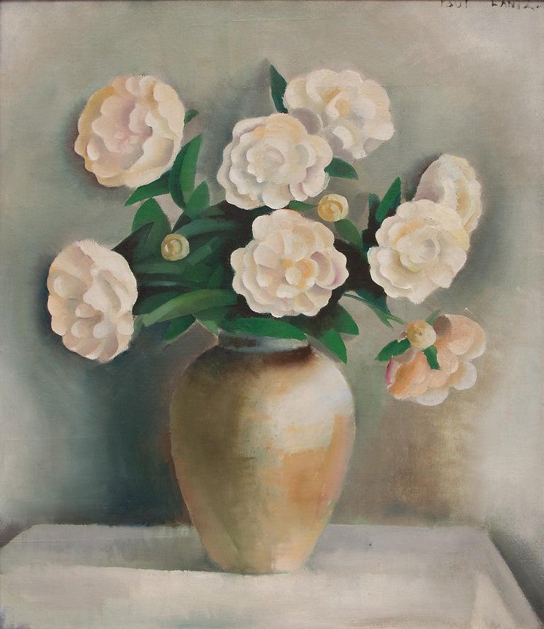White Peonies (Still Life) - Painting by Paul Lantz