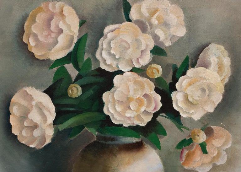 White Peonies (Still Life) - American Impressionist Painting by Paul Lantz