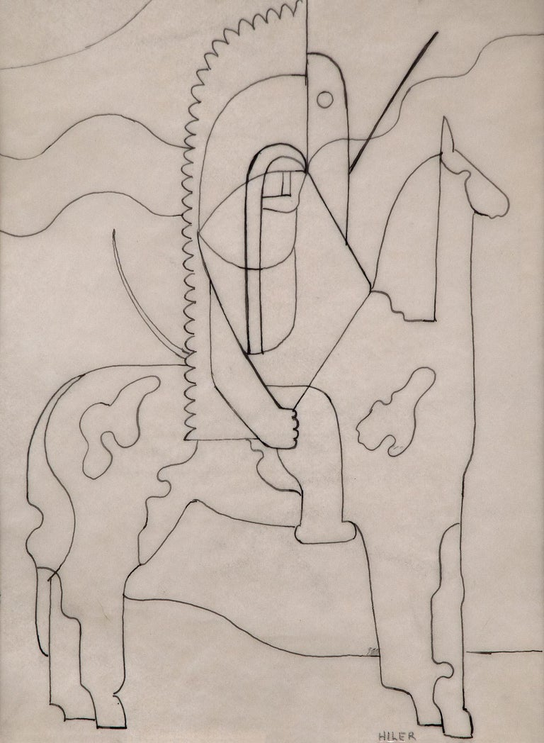 Pinto (Modernist Drawing, Native American on Horseback) - Art by Hilaire Hiler