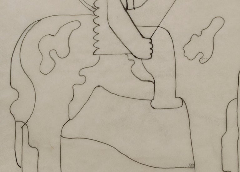 Pinto (Modernist Drawing, Native American on Horseback) - Beige Figurative Art by Hilaire Hiler