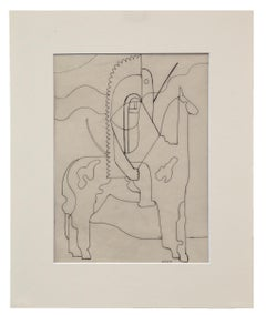 Pinto (Modernist Drawing, Native American on Horseback)